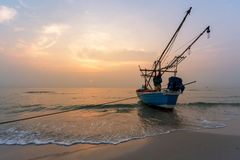 Fisherman Boat with sunrise sky environment Stock Image