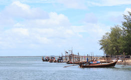 Fisherman boat and tradition floating home village Royalty Free Stock Image