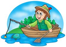 Fisherman in boat with trees. Color illustration Royalty Free Stock Photo