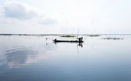 Fisherman on boat at wet land. Royalty Free Stock Images
