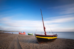 Fisherman boats. On the beach in Sopot, Poland, long exposure photography Royalty Free Stock Image
