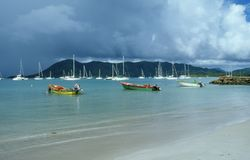 Fisherman Boats. Colorful Boats in the Carribeans Stock Photos