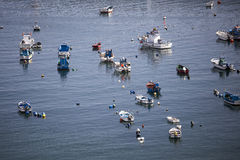 Fisherman boats in a bay of Sines Portugal. Small boats parked in bay of Sines Royalty Free Stock Photo