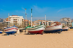 Fisherman boats in Calella Spain Royalty Free Stock Photo