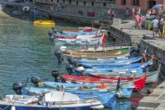 Fisherman boats, Cinque Terre, Italy Stock Photos