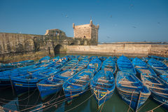 Fisherman boats in Essaouira port, Morocco Royalty Free Stock Photography