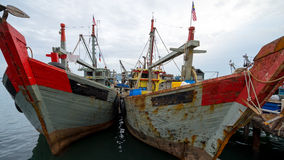 Fisherman boats. Fishing boat dock at Kota Kinabalu fishport on August 16, 2015. Kota Kinabalu is well known for its lucrative fishing industry in the South Royalty Free Stock Photography