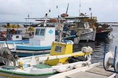 Fisherman boats in a harbour, Santorini Island, Greece Stock Photography