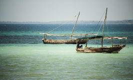 Fisherman boats in Indian ocean. Kwale island. Zanzibar. Tanzania. Royalty Free Stock Image