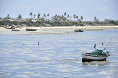Fisherman boats and landscape of mozambique island Stock Photo