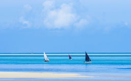Fisherman boats with low tide Royalty Free Stock Photo