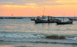 Fisherman boats at Ngapali beach Stock Image
