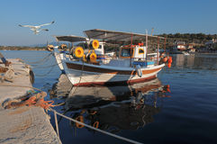 Fisherman boats in Northern Greece Royalty Free Stock Photos