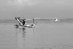 Fisherman boats in sea Royalty Free Stock Photos