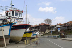 Fisherman Boats on Seashore Royalty Free Stock Photography