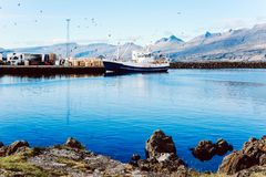 Fisherman boats in South Iceland. royalty free stock photography