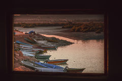 Fisherman boats in Tabl Royalty Free Stock Images