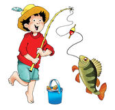 Fisherman boy fishing pole fish bass. Float luck   bucket hat Stock Photography