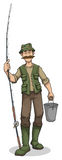 Fisherman with bucket and rod Royalty Free Stock Images