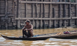 Fisherman in Cambodia Royalty Free Stock Images