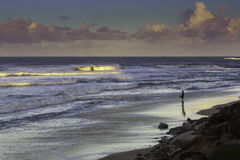 A Fisherman In Caloundra Stock Images