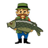 Fisherman Carrying Big Fish. Cartoon Vector Stock Images