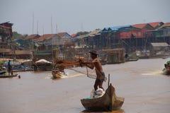 Fisherman casting   net Royalty Free Stock Photos