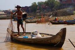 Fisherman casting   net Royalty Free Stock Image
