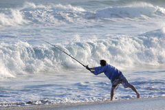 Fisherman casting off Royalty Free Stock Images
