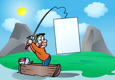Fisherman catch a blank banner on river Royalty Free Stock Images