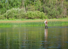 Fisherman catches of chub  fly fishing Stock Photos