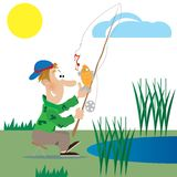 A fisherman catches a fish. Fisherman on a pond at the bait catches fish. vector illustration Royalty Free Stock Photos