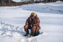 Winter fisherman Royalty Free Stock Image