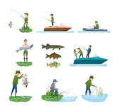 Fisherman catches fish from shore, boat, shows catch, types fish. Fisherman`s set on fishing in different situations. Fisherman catches fish from shore, on boat Stock Photo