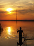 Fisherman catches fish on the lake at sunset. Fisherman catches fish by spinning on the lake at sunset royalty free stock image