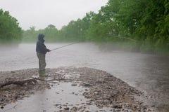 Fisherman catches a salmon Royalty Free Stock Photos