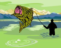 Fisherman catching bass Royalty Free Stock Photo