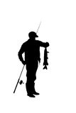 Fisherman with catching fish. Black silhouette of a fisherman with a catching fish Stock Photography