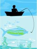 Fisherman catching the fish Stock Photo