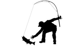 Fisherman and catching fish with a fishing tackle. Silhouette of fisherman and catching fish with a fishing tackle Stock Image