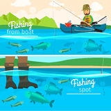 Fisherman catching fish at lake. Vector fisherman catching fish at lake. Fishing vector illustration Royalty Free Stock Images