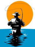 Fisherman catching a trout. Vector art of a Fly fisherman catching a trout Royalty Free Stock Photos