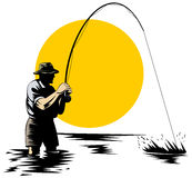Fisherman catching a trout. Vector art of a Fly fisherman catching a trout Stock Photo