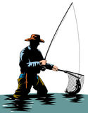 Fisherman catching a trout. Vector art of a Fly fisherman catching a trout Stock Photos