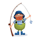 The fisherman caught a fish. Digital illustration. The merry fisherman rejoices in the catch Royalty Free Stock Images