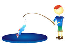 The fisherman caught a fish illustration. A Stock Photography