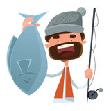 Fisherman caught fish  illustration cartoon character Stock Images