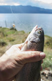 Fisherman caught a fish Stock Photography