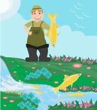 Fisherman caught a fish. Vector Illustration Royalty Free Stock Photo