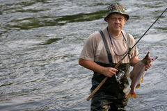 Fisherman caught a salmon. (pink salmon) on the River. Early Morning Royalty Free Stock Photography